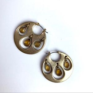 Jewelry - Gold Platted Topaz Disk Earrings